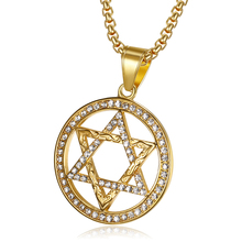 Hip Hop Iced Out Star Of David Pendant Necklaces Gold Color Stainless Steel Israel Judaica Jewish Hebrew Jewelry Dropshipping