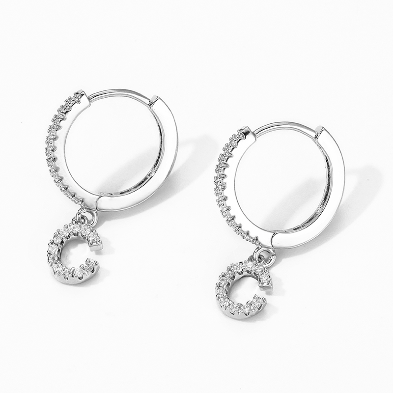LUXE GOLD OR SILVER CUBIC ZIRCONIA INITIAL EARRINGS 3