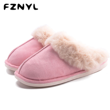 FZNYL Women Home Cotton Slippers Winter Warm Indoor Flock Flops Lovers Non-slip Platform Bedroom Shoes Men Casual House Footwear цена 2017