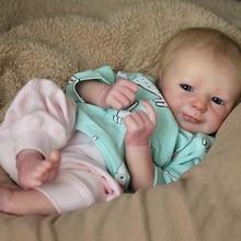 RSG 18 Inches 46CM Lifelike Newborn Bebe Aspen Awake Vinyl Silicone Unpainted Unfinished DIY Blank Doll Kit Reborn Baby