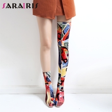 все цены на SARAIRIS Brand Print Graffi Over The Knee Boots Ladies Sexy Stretch Thigh High Boots Women 2019 Autumn High Heels Shoes Woman