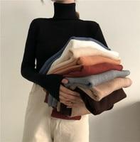 Women Turtleneck Sweaters Autumn Winter Korean Slim Pullover Women Basic Tops Casual Soft Knit Sweater Soft Warm Jumper 1