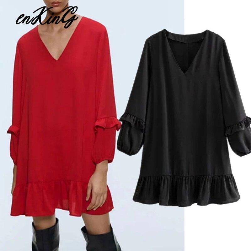 2019 England Style Simple Solid Elegant Loose V-neck Ruffles Mini Za Dress Women Vestidos De Fiesta De Noche Vestidos Blazer