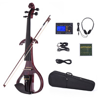 ammoon VE 209 Full Size 4/4 Solid Wood Silent Electric Violin Fiddle Maple Body Ebony Fingerboard Pegs Chin Rest Tailpiece