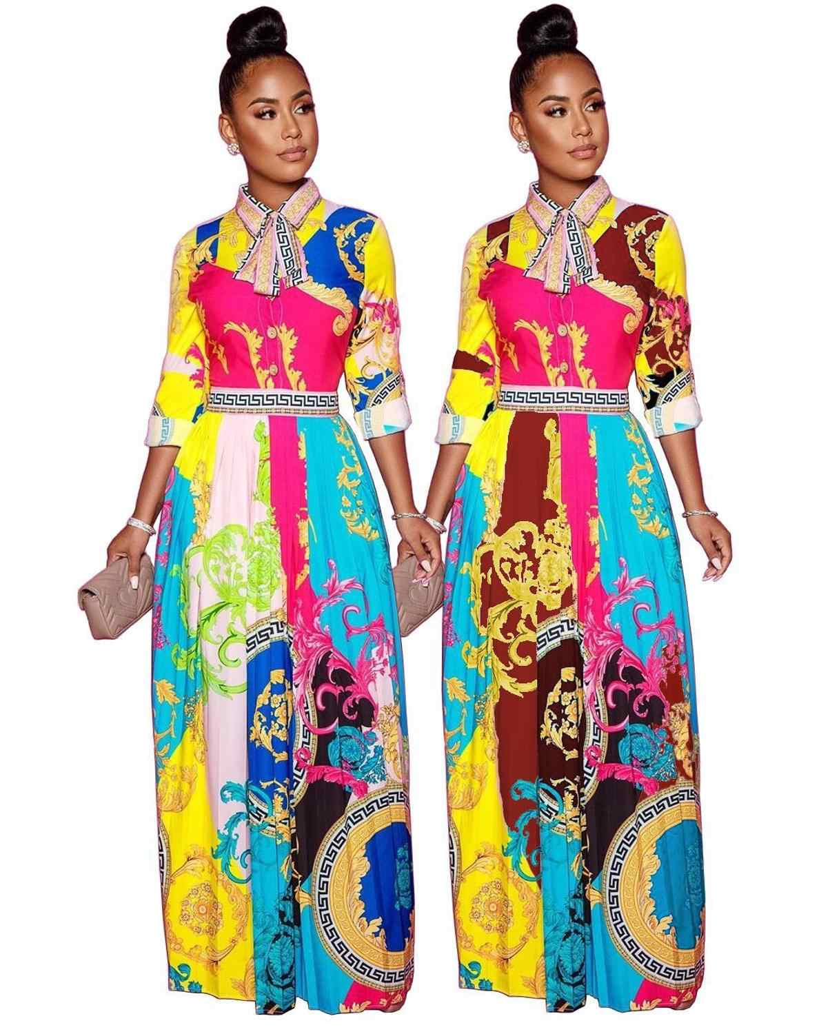 Charming Women Printed Long Dress Bow Turn down Neck Long Sleeves Fashion Floor Length Casual Dresses New Arrivals 2020