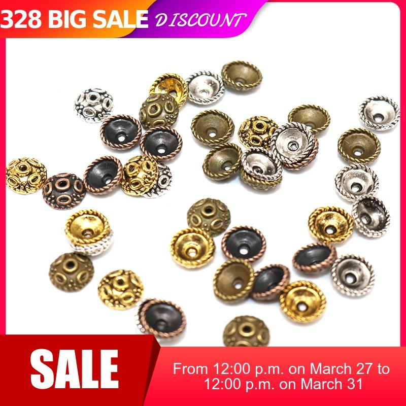 5mm 200pcs Tibetan Silver Plated Flower End Beads Caps Charms  Jewelry Making Supplies Zinc Alloy Small Bead Caps