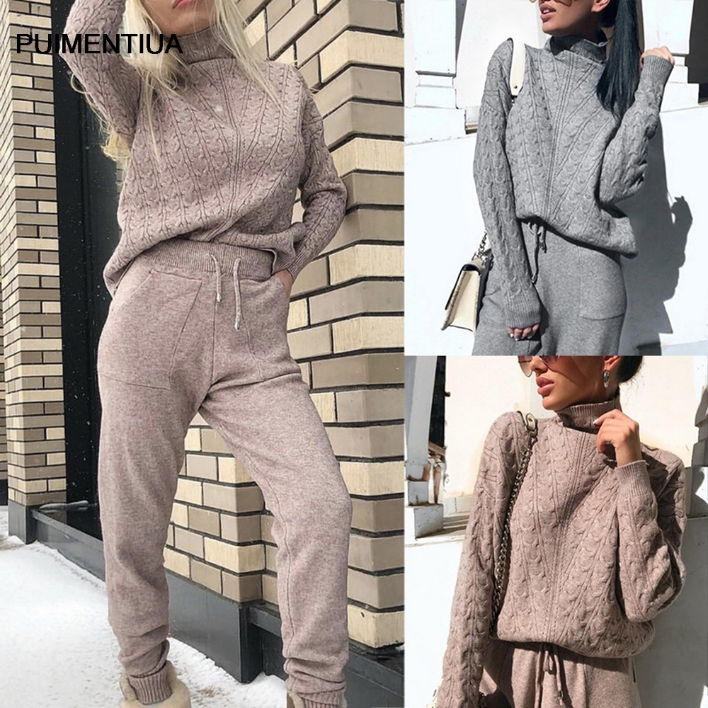 Puimentiua women Soft Knitted Suits Fashion Women's turtleneck sweater top + pants and warm sweater set Slim 2020 new 2pcs/set