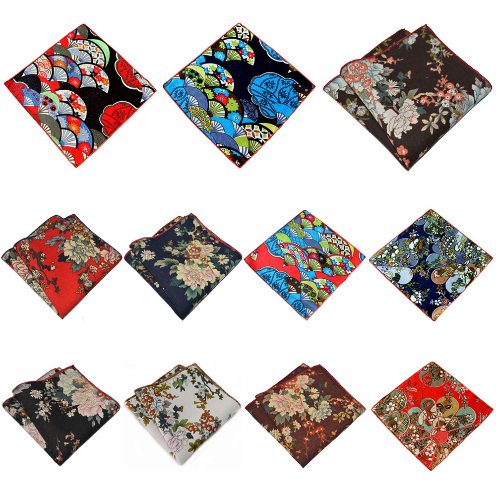 Mens Business Pocket Square Floral Printed Hanky Party Accessories Handkerchief