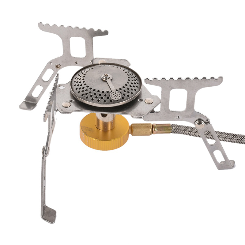 Stainless Steel Camping Hiking Picnic Stove Camping Stove Material Portable Outdoor Folding Gas Stove Split Burner 3500W