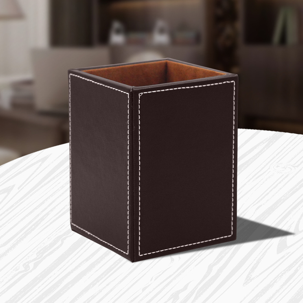 US $35.35 35% OFFDesk Organiser Pen Holder PU Leather Stationary Office  Accessories Home Single Craft Pencil Container Gift Solid Square  -
