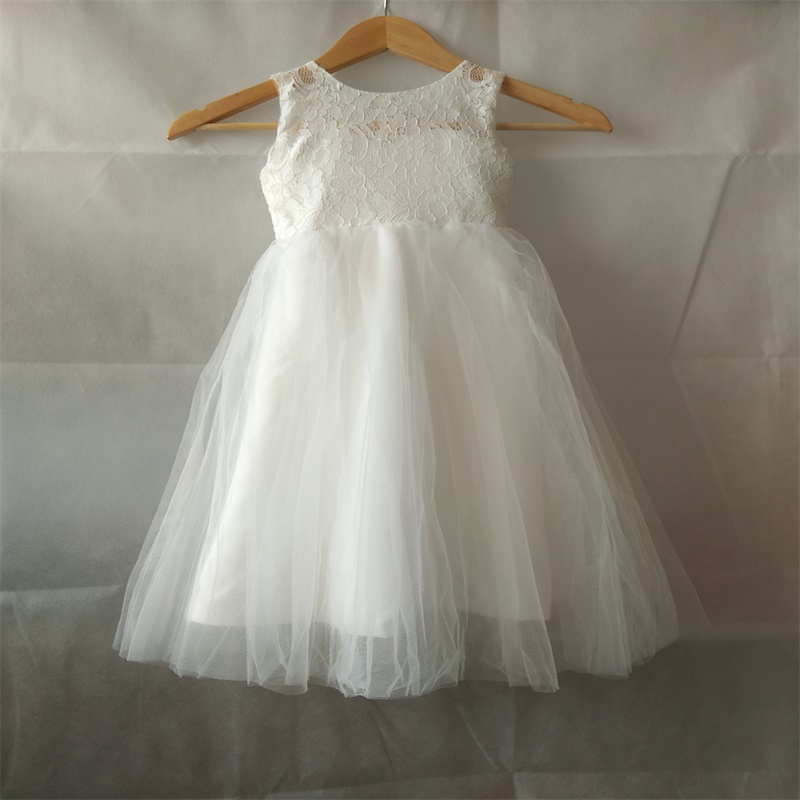 New Flower Girl Dresses for Wedding Lace Tulle Little Girls Kids/Children Dress Birthday Ball Party Pageant Communion Dresses