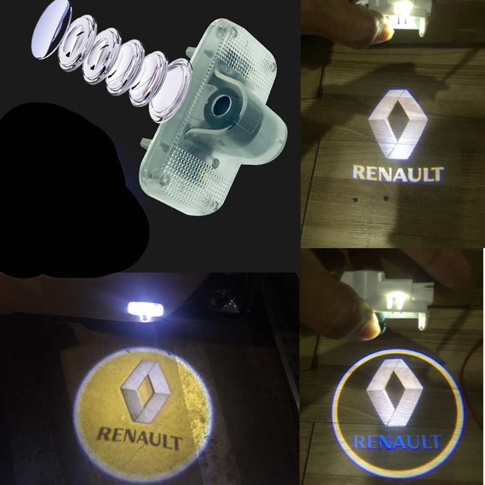 For Renault Koleos 2008 2009 2010 2011 2012 2013 2014 2015 2016 Car 3D Door LED  Light Shadow Logo Projector Welcome Lamp