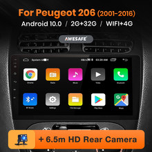 Awesafe px9 para peugeot 206 2001 - 2016 rádio do carro reprodutor de vídeo multimídia navegação gps nenhum 2 din 2din dvd android 10