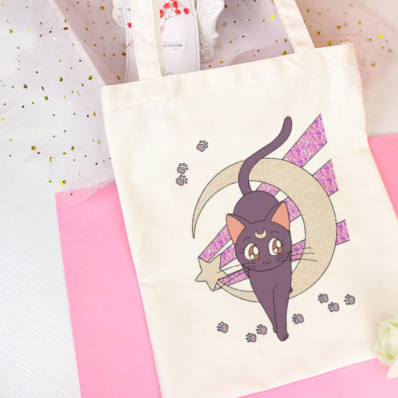 Sailor Moon Anime Cute Cat Print Shoulder Bags Harajuku Beautiful Handbag New Vogue Messenger Bag Large Ulzzang Women Bag Wallet