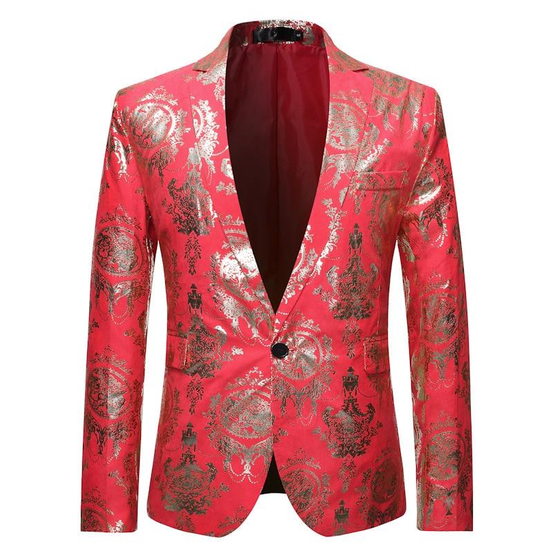 Red Floral Print Dress Blazer Men Slim Fit One Button Suit Blazer Jacket Men Stylish DJ Club Wedding Tuxedo Blazer Masculino