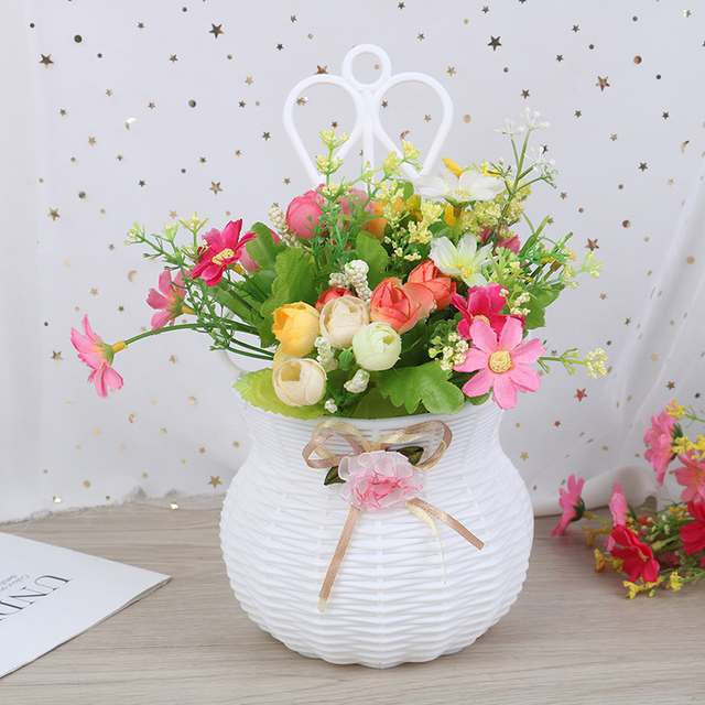 Artificial Flower Hanging Basket Vase Rattan Wall Hanging Small Artificial Rattan Flower Basket For Home Decoration Color Random 4