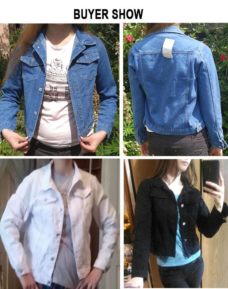 H2c69c70f0386476bb08c0e6c0d1068626 2019 Fashion Jeans Jacket Women Spring 2XL XL Spring Autumn Hand Brush Long Sleeve Stretch Short Denim Jacket White Pink Coats