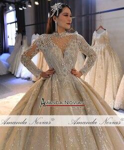Image 5 - Amanda Novias 2020 brand gold wedding dress real work high quality dubai wedding dresses not with veil