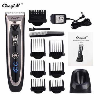 Cortadora de pelo Digital LCD profesional recargable, afeitadora, barbero, cortadora de bigote, cortadora de pelo sin cable para hombres, Motor de potencia