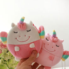 New Pink Unicorn Plush Purse Coin Bag Anime Cartoon Flying Horse Unicorn Key Changes Small Bag Wallet 5pcs/lot(China)