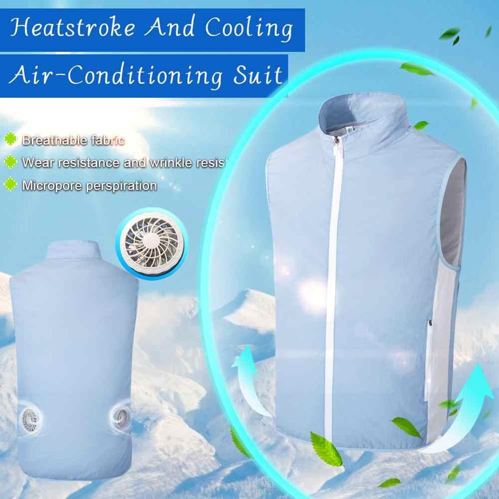 Venda quente verão ventilador colete de refrigeração das mulheres dos homens casaco de refrigeração ao ar livre proteção solar jaqueta usb charing ventilador colete