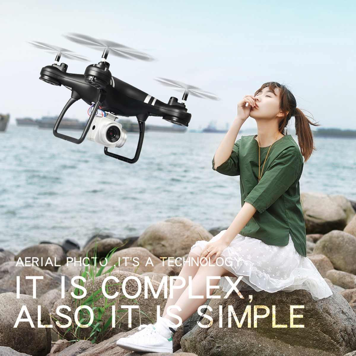 RC Drone Quadcopter Wifi Foldable LF608 FPV Camera with Wide-Angle HD Hold-Mode Arm Hot-Sale