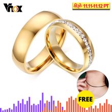 Vnox 18K Gold Plated Wedding Bands Rings for Women Men Jewelry New 6MM Stainless Steel Engagement Ring US Size 5 to 13