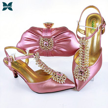 2021 New Arrival Fashion Style Italian Design Pink Color Ladies Shoes and Bags To Match Set Decorated with Rhinestone for Party