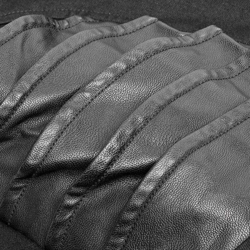 Панк рейв мужские панк красивые Стрейчевые брюки эластичные Саржевые индивидуальность Pu кожаные брюки готические мотоциклетные повседнев... - 6