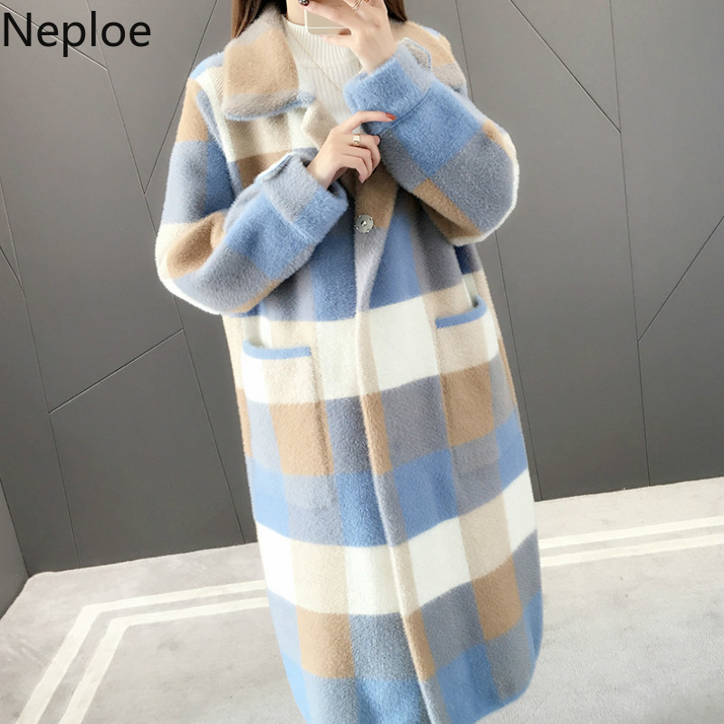 Neploe Coat Cardigan Hooded Sweater Patchwomen Loose Imitation-Water Winter New Thick