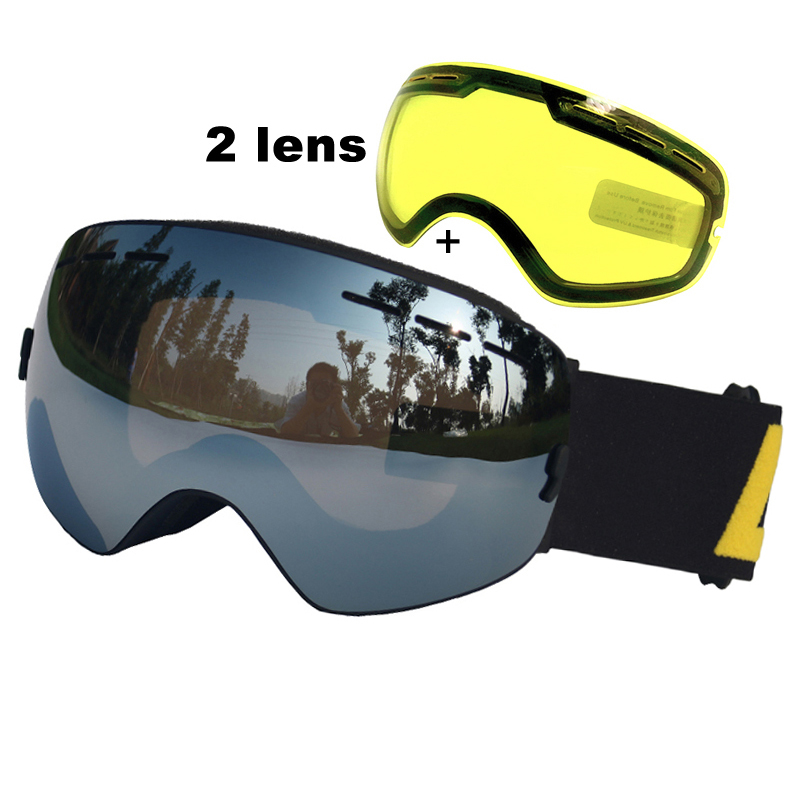 LOCLE Anti-fog Ski Goggles UV400 Ski Glasses Double Lens Skiing Snowboard Snow Goggles Ski Eyewear With One Brightening Lens