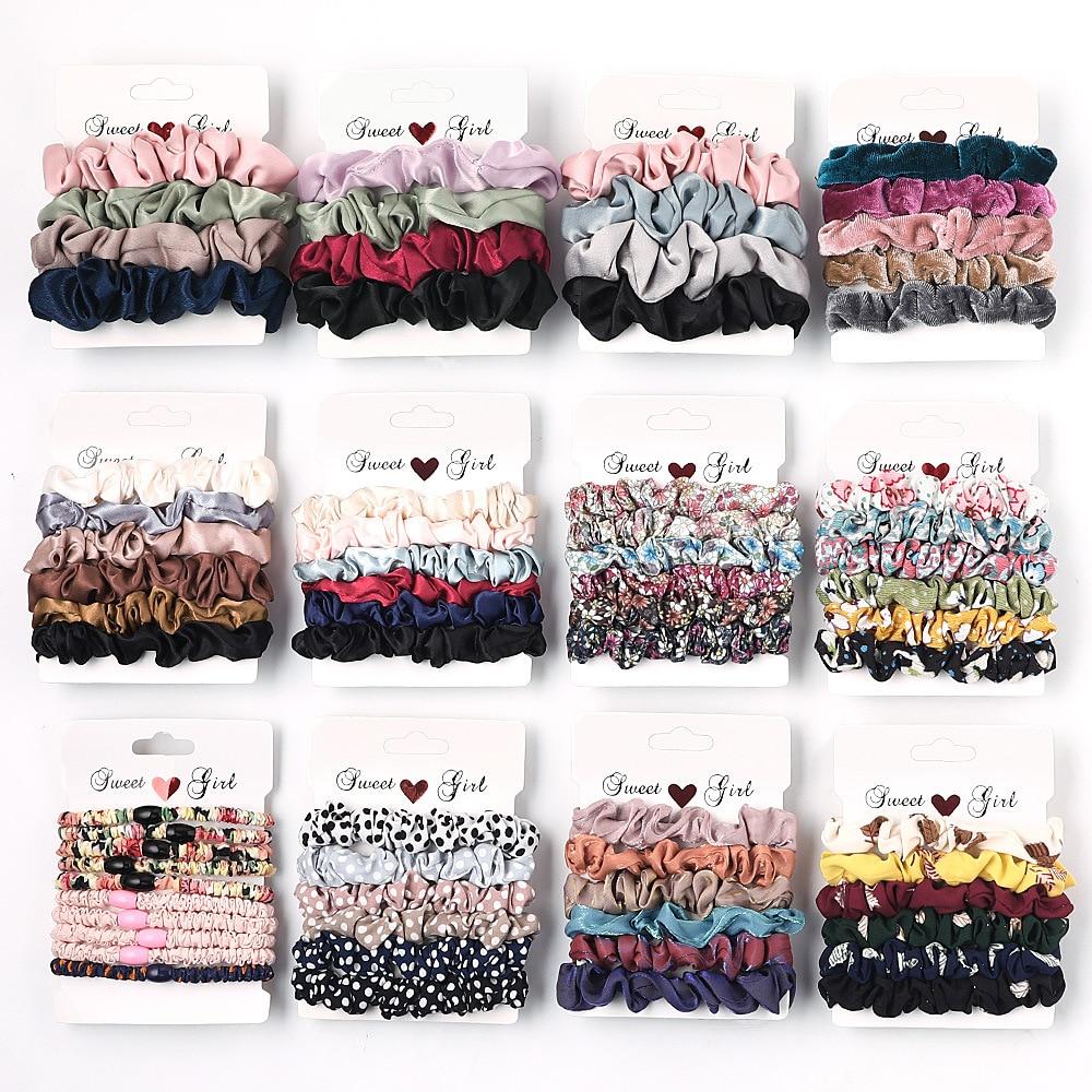3-6Pcs/Pack Scrunchies Set Hair Ties Women Elastic Hair Bands Trendy Satin Velvet Ponytail Holder Ladies Girls Hair Accessories