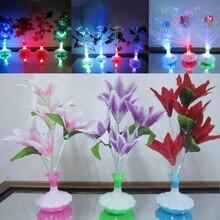 Светодиодный светильник из оптоволокна цветок ваза с лилиями ночник украшения красочные