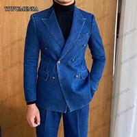 Blue Denim Peak Lapel Tuxedo Double-Breasted Blazer 2021 Jacket With Pants 2 Piece Set Men\'s Suit For Wedding Groomsman Business