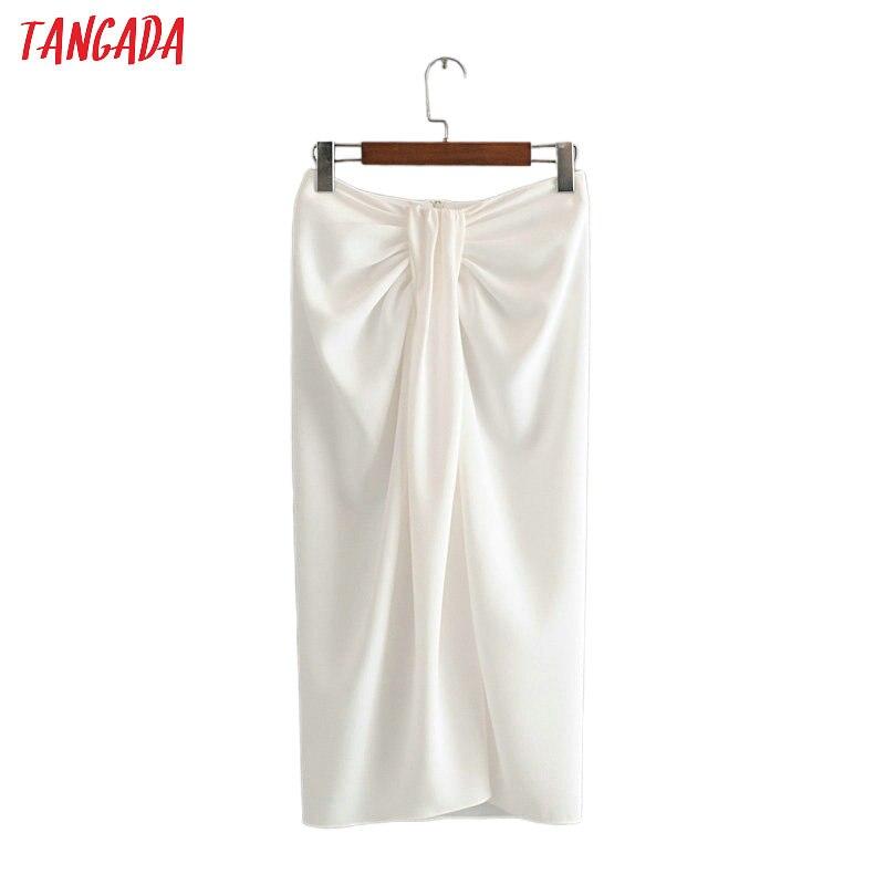 Tangada women pleated white midi skirt faldas mujer vintage side zipper office ladies elegant chic mid calf skirts 3H571