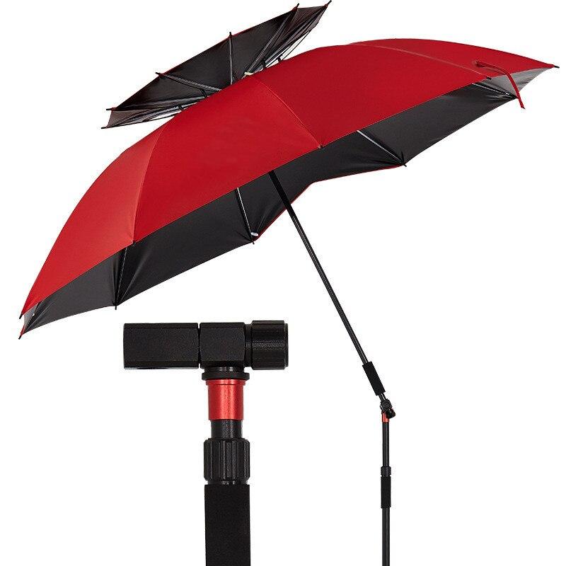 2-2.4 m 2-couche béquille pêche parapluie extérieur ultra-léger Camping Fiber de carbone os anti-pluie protection solaire pli plate-forme auvent