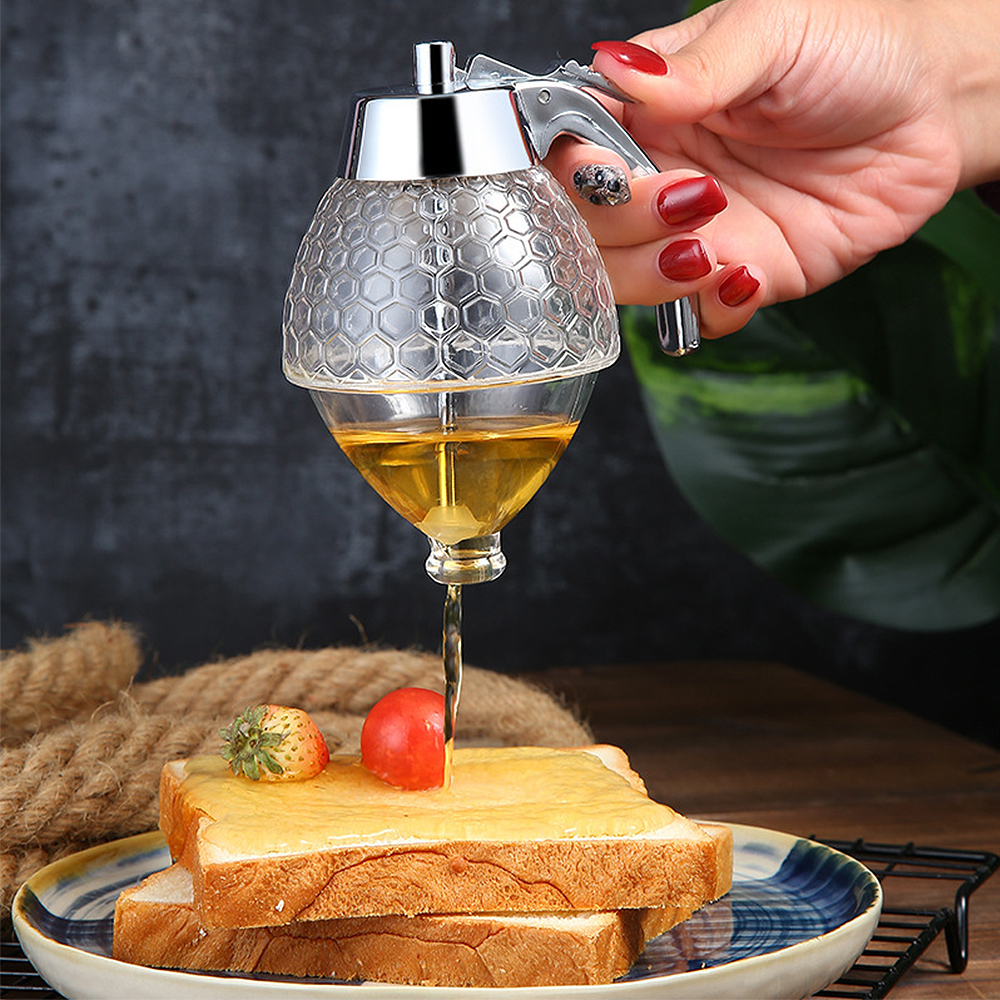 Squeeze Bottle Honey Jar Container Bee Drip Dispenser Kettle Storage Pot Stand Holder Juice Syrup Cup Home Kitchen Accessories