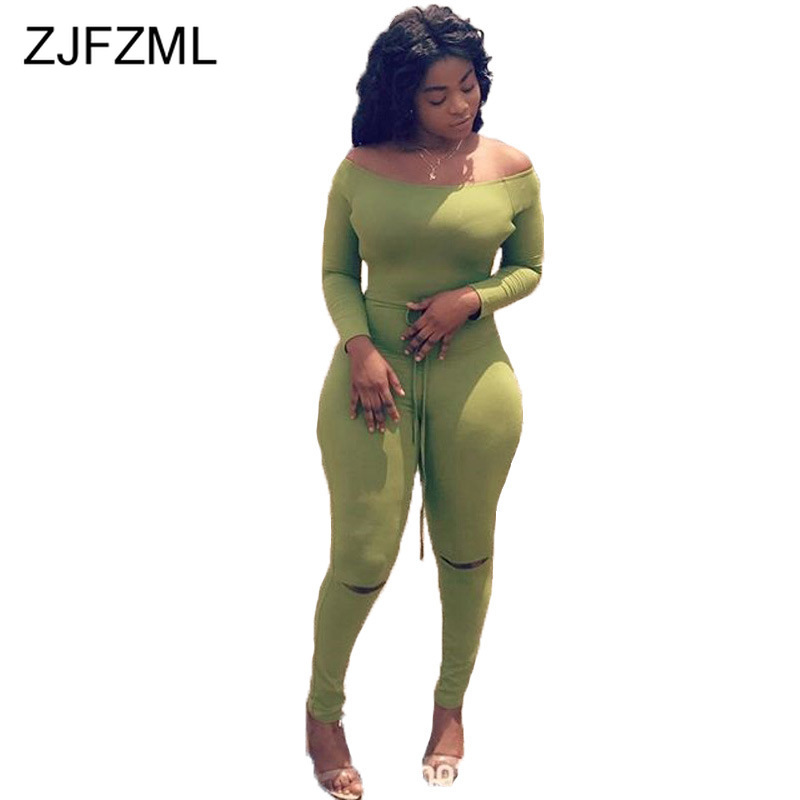 Sexy Slash Neck Solid Ripped Jumpsuits For Women 2019 Long Sleeve Open Back Bodycon Club Romper Autumn Belt One Piece Overalls