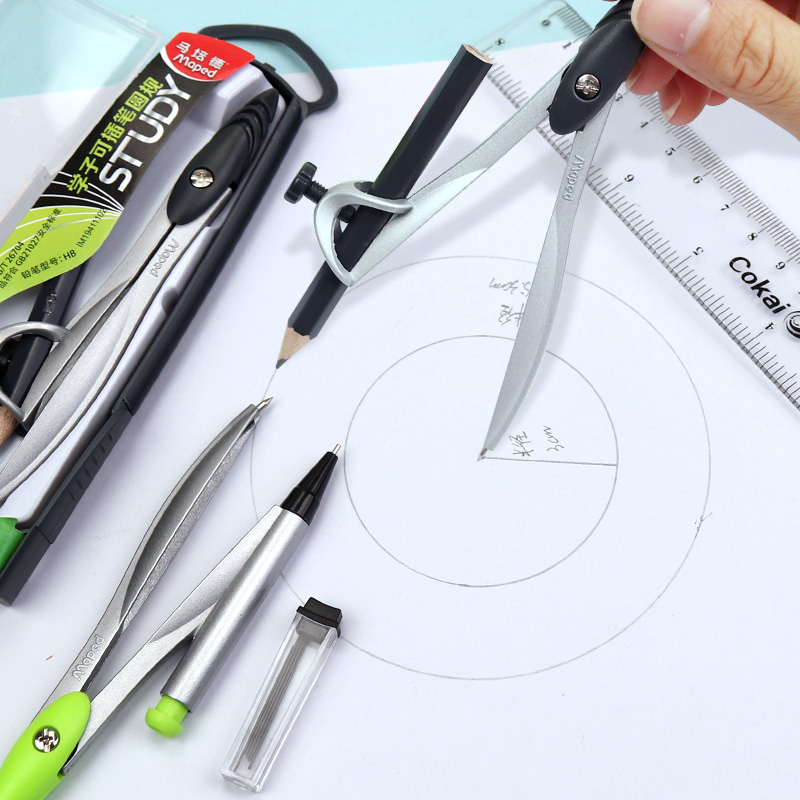 Maped Math Geometry Tools Study Compasses Available Lead/Pencil Drawing Compass Technical Precision Drawing Set Metal Durable