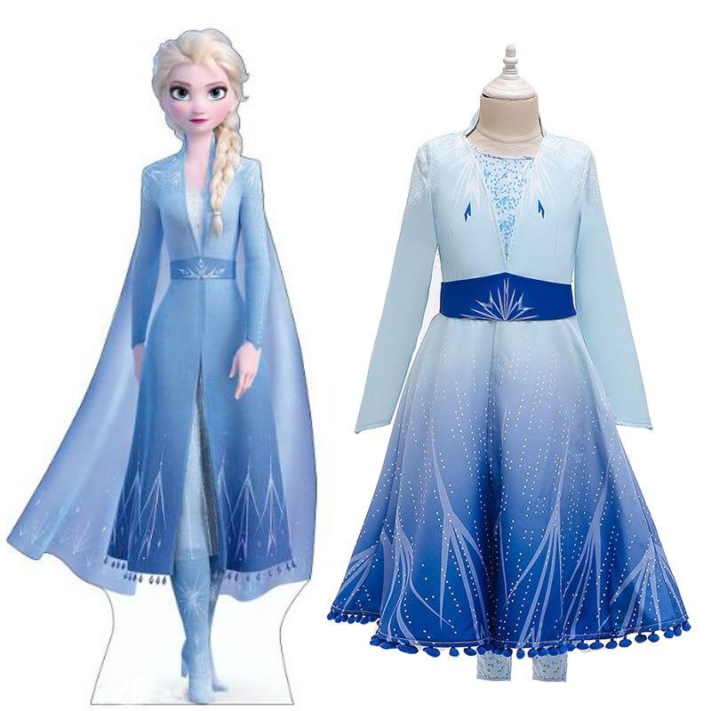 Navidad Frozen 2 vestido de Elsa para chicas adolescentes vestido de cumpleaños disfraz de Carnaval chico Elza Up vestido de princesa disfraz de niño ropa Nueva ropa de bebé de otoño e invierno conjunto de estilo de conejo agregar algodón acolchado cálido 0-2T bebé recién nacido 3 unids/set vestido para andar