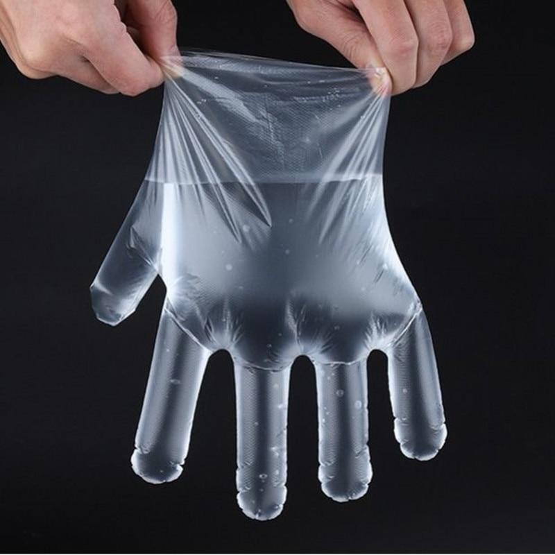 100 Pcs/bag Plastic Transparent Disposable Gloves Hygiene Thick PE Film Anti-slip Glove Washing Fruit Vegetables Cheap No Touch