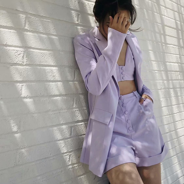 Teenage Dream Shorts Lilac Western style retro temperament purple small suit jacket vest + wide leg shorts crop top 2