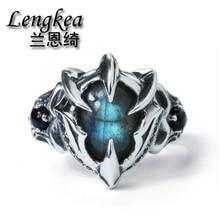 Joyería Lengkea anillos de hombre 925 anillos de plata de ley personalidad creativa labradorita piedra de gran tamaño anillo de apertura joyería de mujer