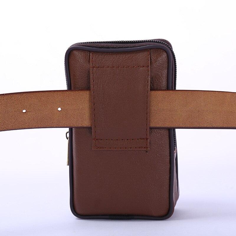 BISI GORO Multi-function Phone Coin Men Waist Bag Vintage 2020 Wear-resistant PU Heuptas Heren On The Belt Outdoor Small Wallet