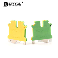 1 Pcs USLKG-3N Din Rail Ground Terminal Blocks Universal Wire Screw Connection Terminal UK-3N Ground Type Connector 10pcs lot uk series yellow green ground terminal uslkg6 terminal dual row barrier uk6njd guide parts pure copper 6mm2 square