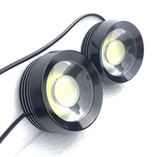 2pcs 18W Car Led day light Grille Auxiliary running light fog lamp Waterproof Auto eagle eye light COB White Flood dc 12v(China)