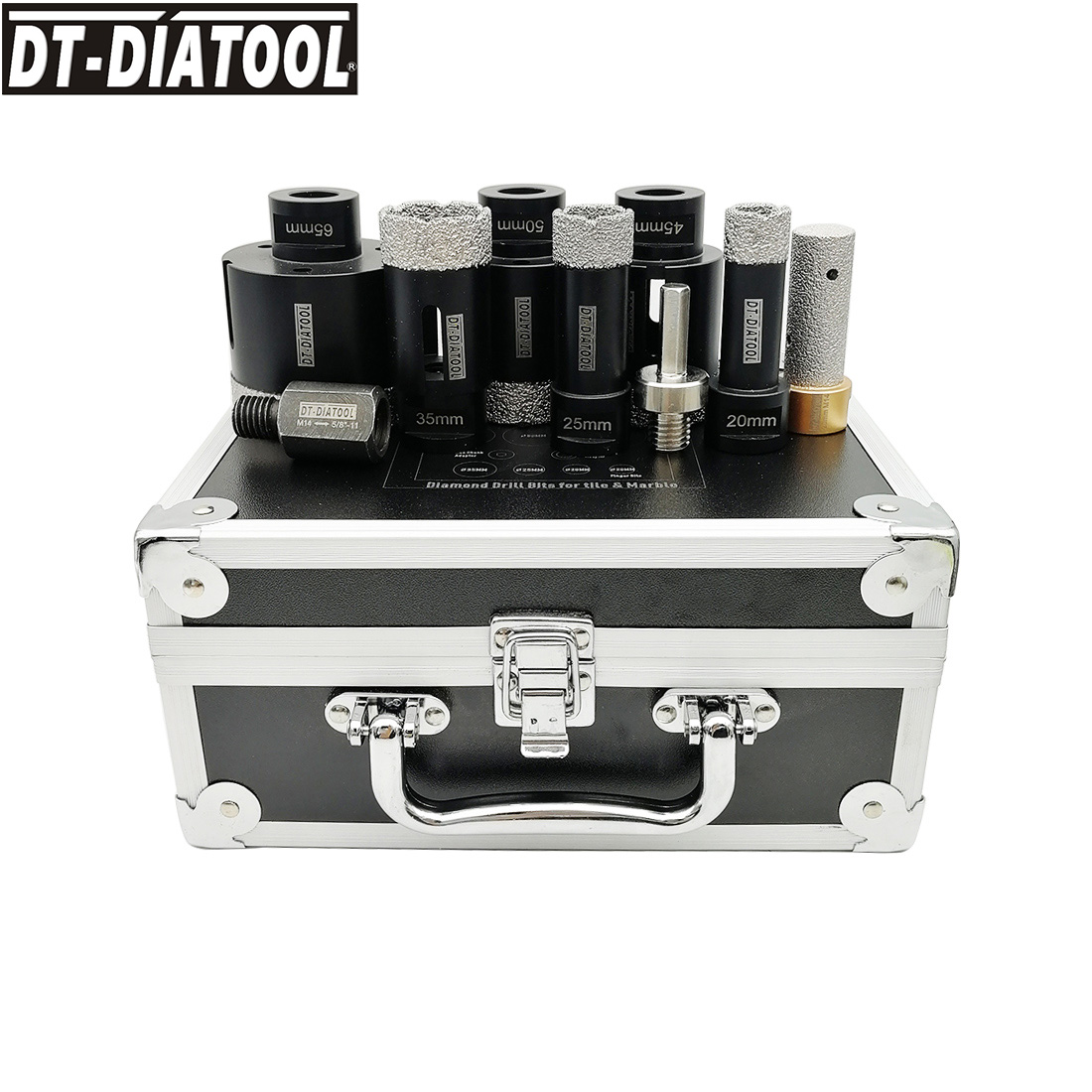 DT-DIATOOL 1set Boxed Vacuum Brazed Diamond Drill Core Bits, M14 Or 5/8-11 Mixed Size Hole Saw Plus 3/8
