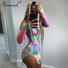 цены Simenual Tie Dye Sexy Bodycon Mini Dresses Women Long Sleeve Off Shoulder Fashion Dress 2019 Autumn Party Clubwear Dress V Neck