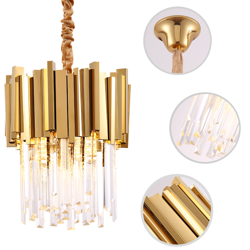 Modern Crystal Chandelier Lighting Dining Room Kitchen Island Bedroom Chain Loft Chandeliers Ceiling Gold Chrome Light