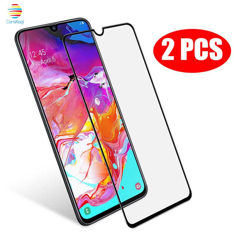 2PCS 2 PCS/Lots Pack Full Cover Tempered Glass For Samsung Galaxy A10 A20 A20E A30 A40 A50 A70 M20 A7 A8 2018 Screen Protector